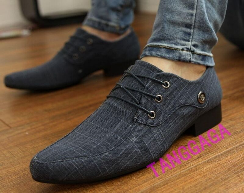 Fashion Mens Canvas Lace Casual Pointed Toe Oxfords Formal Dress Wedding shoes