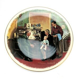 034-The-Annual-Visit-034-by-Norman-Rockwell-Gorham-Fine-China-Collectible-Plate-1984