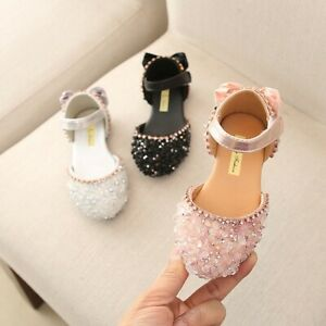 Teen-Infant-Kids-Baby-Shoes-Girls-Bowknot-Crystal-Princess-Sandals-Shoes-AU