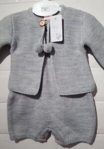 419cb9b08d67 Spanish Style Baby Boys Knitted Dungarees   Pom Pom Cardigan Set.