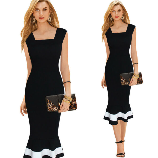 Women Square Neck Slim Bodycon Midi Cocktail Evening Party Fishtail Pencil Dress