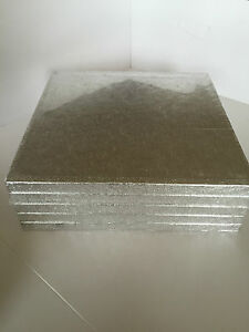 5-PACK-of-Culpitt-SILVER-Cake-Boards-Square-Drum-Board-12mm-Thick-Bulk
