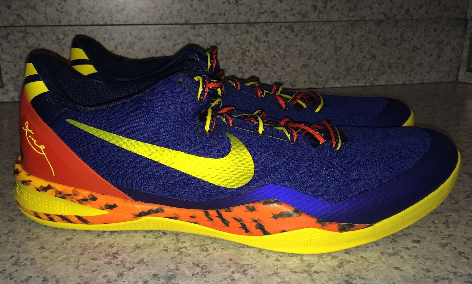 NIKE KOBE 8 System Low bluee Yellow orange Basketball shoes Sneakers NEW Mens 18