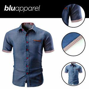 Mens-Short-Sleeve-Denim-Shirt-Work-Casual-Blouse-Light-Blue-Tops-Size-S-2XL