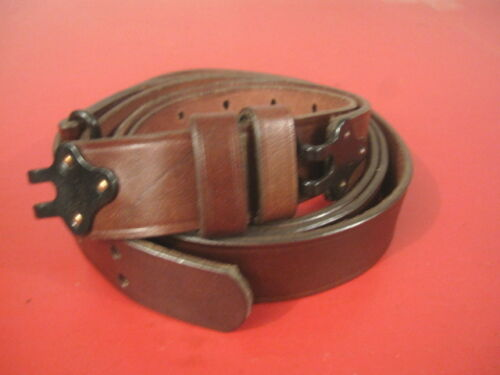 """Two Piece Military Style Leather Rifle Sling w//Metal Hooks 1 1//4/"""" Wide"""