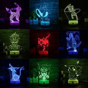 Pokemon Usb De 3d Nocturne Le Détails Titre Lampe D'origine Pikachu Sur Noctali Del Touch Cadeau Noël Acrylique Afficher FK1Jlc