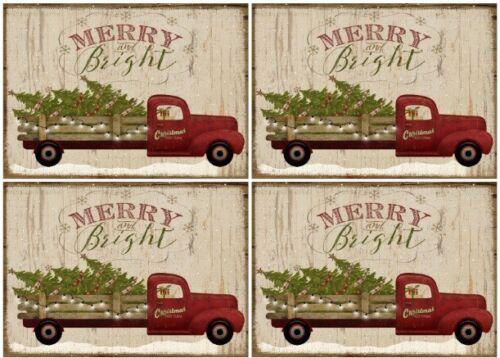 Decoupage-Bastelpapier-Softpapier-Vintage-Shabby-Weihnachten-Truck-Baum-12583