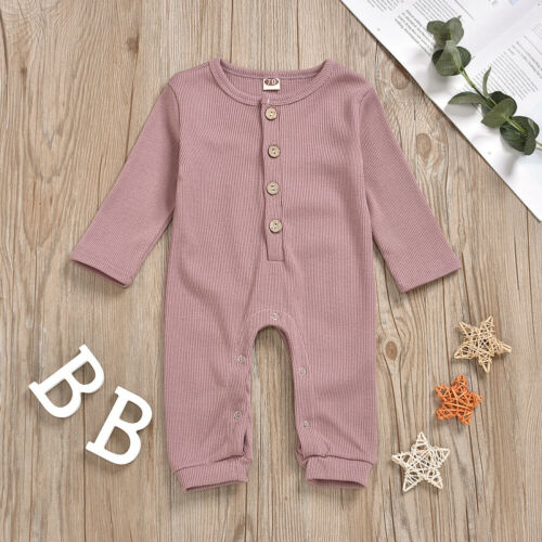 Infant Baby Girl Boy Clothes Solid Color Knitted Romper Jumpsuit Overall Outfits