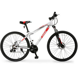 27-5-034-Mountain-Bike-Hybrid-Bike-21-Speed-Front-Suspension-Bicycles-Shimano-White