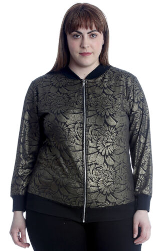 New Women Plus Size Bomber Jacket Ladies Glitter Floral Print Zip Closure Ribbed