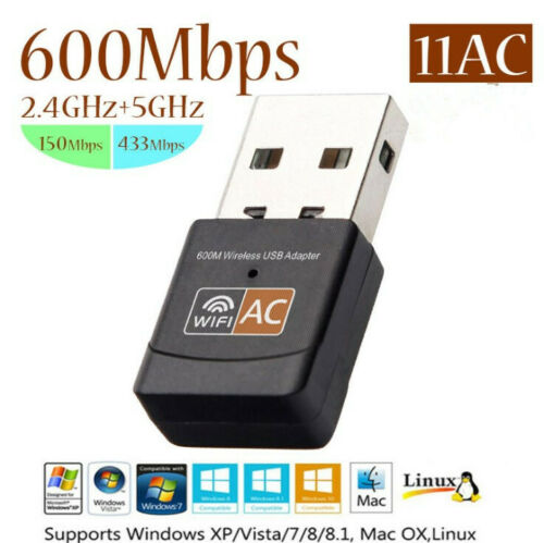 600Mbps Wireless Lan USB Dual Band 2.4G / 5G WiFi Adapter Network 802.11AC 2dbi