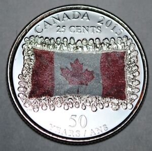 BU Canadian Quarter Canada 2015 25 cents Poppy UNC from roll