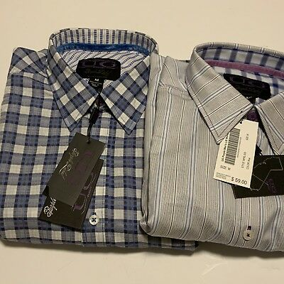 UG Purple Label New Men's Medium Flip Cuff Shirt Lot Of Two LS Blue  Plaid/Stripe | eBay