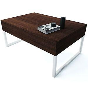 Tavolino basso tavolo in legno gambe metallo moderno ingresso rovere moro