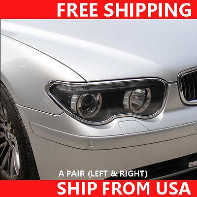 Driver /& Passenger 2PCS Chrome Front Head Light Lamp Trim Rim BMW 7-E65 02-05