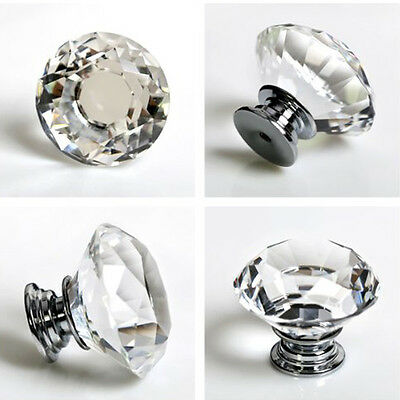 1/10Pcs Diamond Shape Crystal Glass Pull Handle Kitchen Cabinet Drawer Door Knob