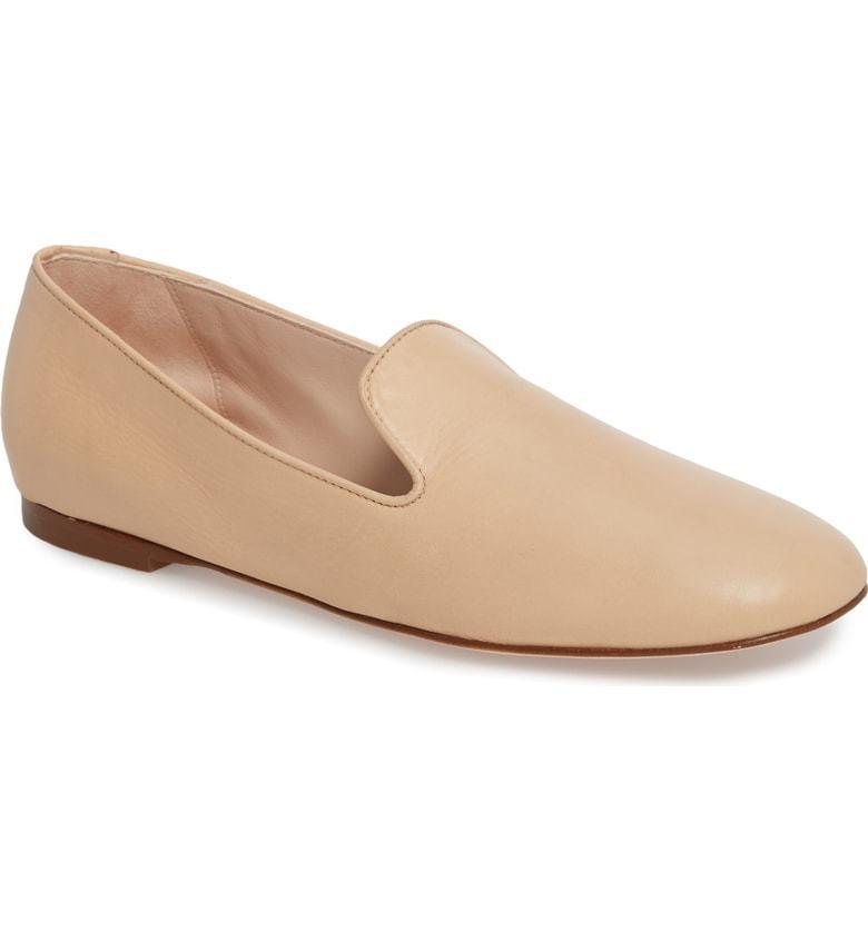 Stuart Weitzman Women's Myguy Leather Smoking Slippers Size 10 Blush Tripoli