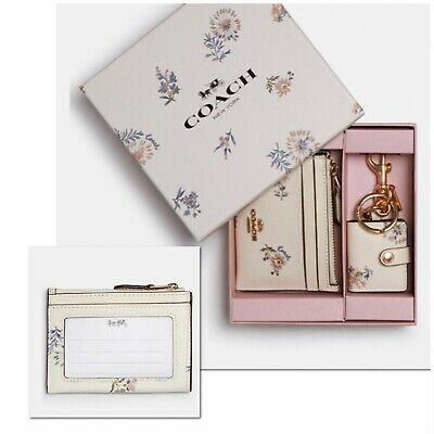 COACH MINI SKINNY ID /& PICTURE FRAME BAG CHARM BOXED SET:NWT DANDELION FLORAL