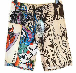 Bnwt-Authentic-Men-039-s-Ed-Hardy-Board-Swim-Surf-Shorts-Live-Once-Joker-New