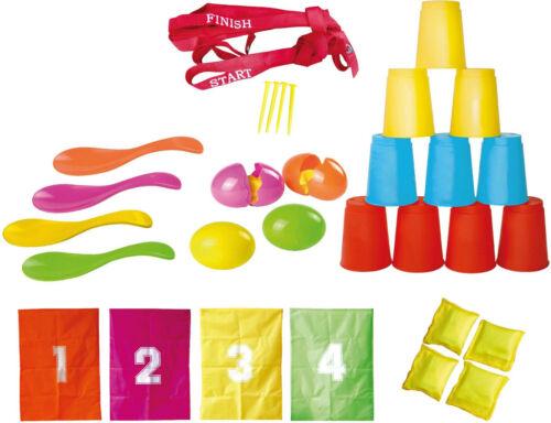 knorrtoys Fun Party Geburtstag Spielset 32tlg Sackhüpfen Dosenwerfen Eierlaufen