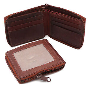 Bifold-Genuine-Leather-Reddish-Brown-Zip-around-Wallet-with-Outside-Card-Window