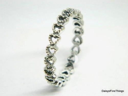 a211d548e denmark linked love genuine pandora silver valentines hearts ring band 9 60  ebay fdffe 33376