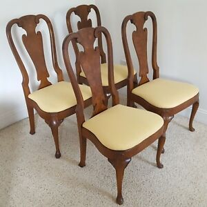 Henredon Burled Walnut Dining Chairs Folio Four Queen Anne Style Vintage 1960 S Ebay