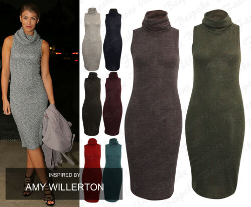 Ladies Women/'s Knitted Sleeveless Cowl Neck Long Top Dress Plus Sizes 8-22