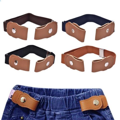 Boys Girls Buckle Free Stretch Belt Jeans Waistband Waist Belt Adjustable Kids F