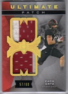 newest 7a039 c7af0 Details about 2013 Ultimate Zach Ertz Rookie Dual College Jersey /60  Stanford TE Eagles