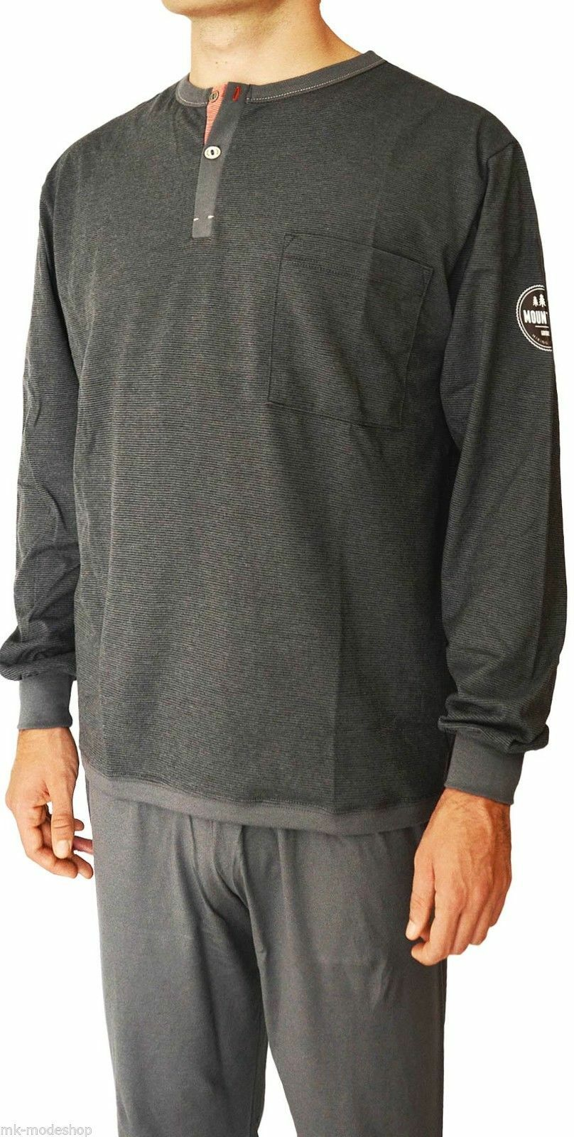 Ammann - Herren Schlafanzug lang (Pyjama), Steel grau (grau)
