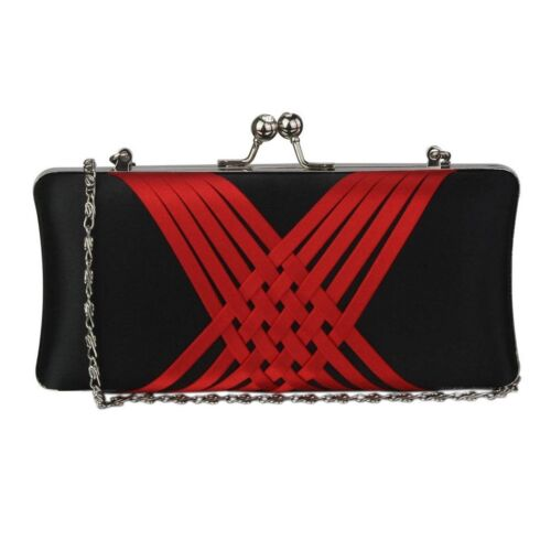Ladies Stunning Red//Black Clutch Evening Bags Wedding Prom Party New