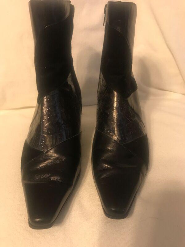 Monzo & Franco Black Metallic Suede Oyster Zip Side Booties Boots 8w