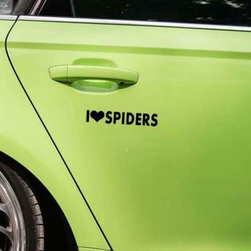 I Love Spiders Calligraphy Heart Car Window Bumper Vinyl JDM Sticker 14CM x2.3CM