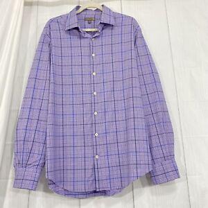 Peter Millar Mens L Shirt Summer Comfort Purple Blue White Plaid Button #SS