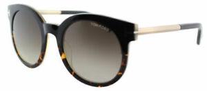839452f0ddcfc Tom Ford Women Rounded Sunglasses TF435 01K Black Havana Frame Brown ...