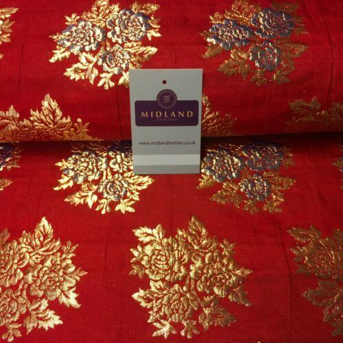 Indian Floral Banarsi Brocade Faux Silk Waistcoat fabric 111 cm Wide MA1151 Mtex