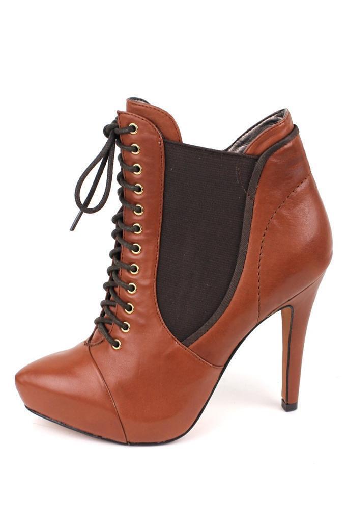 Sam Edelman Rowin Bootie Pecan tie boot boot boot almond toe lace-up zipper Brown Elastic 17eb04