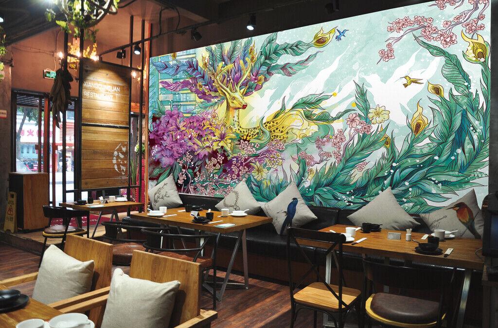 3D Kunst Elch M295 Tapete Wandbild Selbstklebend Abnehmbare Aufkleber Amy