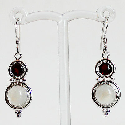 925 Sterling Silver Red Garnet & Moonstone Semi-Precious Stone Drop Earrings