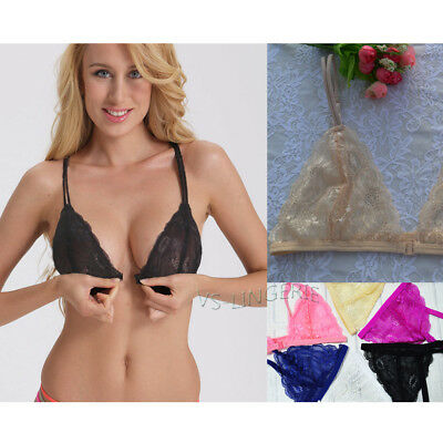 Floral Sheer Lace Bras Triangle Front Closure Bra Perspective underwear A B C D