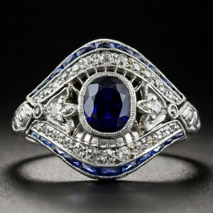 Vintage-925-Silver-White-Topaz-Sapphire-Engagement-Wedding-Ring-Wholesale-6-10