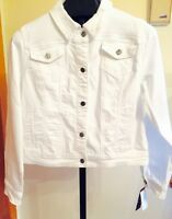 Miss Earl Jean® Denim Jacket (summer White) Bling Me Sz M-nwt's Msrp $54