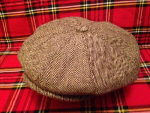 MEN,S 8 PIECE WOOL GREY OR BROWN HERRINGBONE NEWSBOY BAKER LAD CAP GATSBY CABBIE