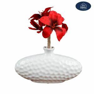 Ceramic-Vase-Oval-White-Flower-Deco-Table-Decoration
