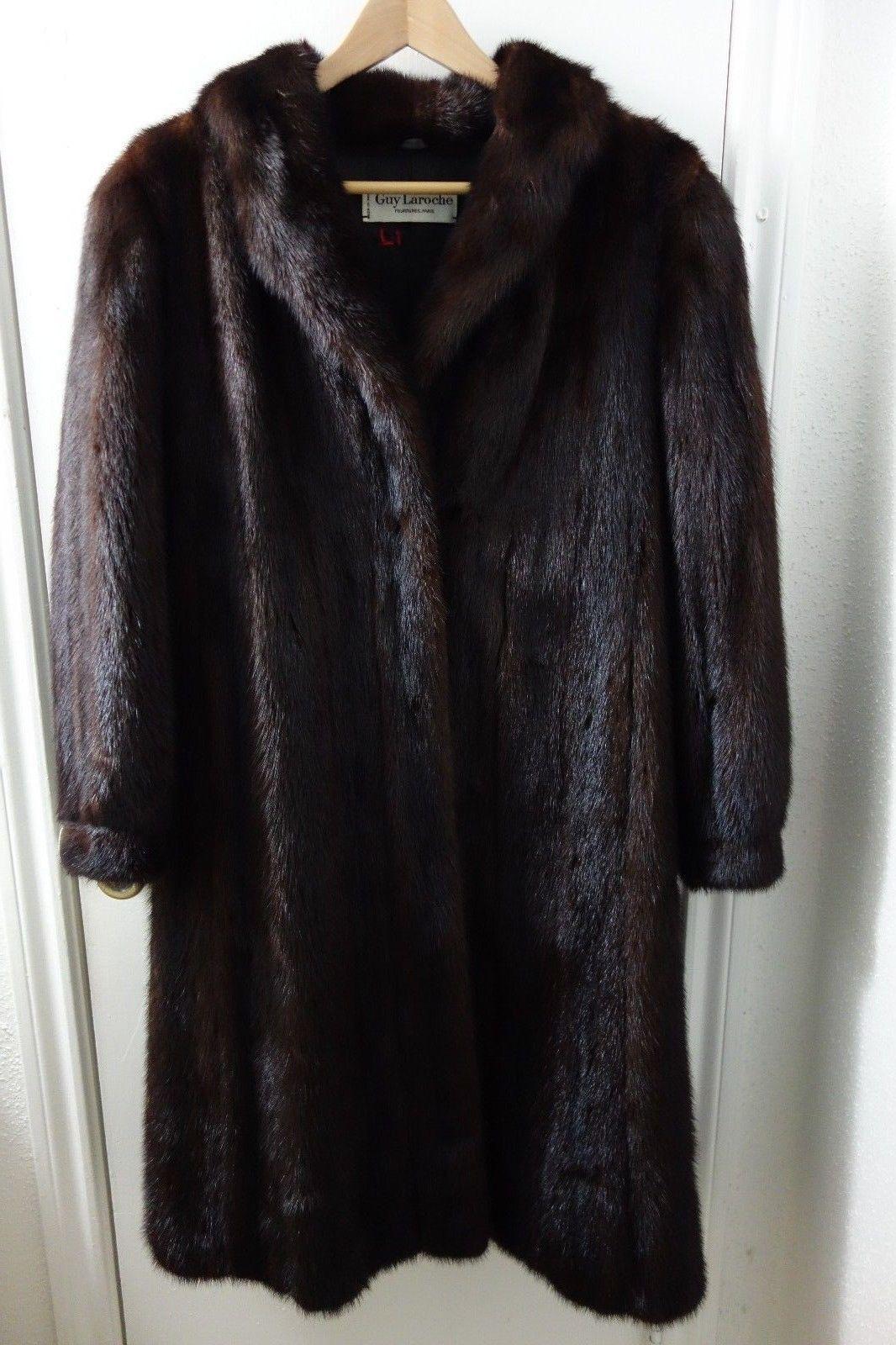 GUY LAROCHE BROWN MINK FUR STROLLER COAT FULL LENGTH BUTTON DOWN