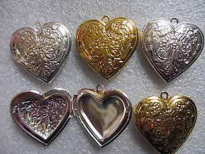 5-50-Lockets-Flower-Pattern-Photo-Frame-Setting-Heart-in-Gold-amp-Silver-Plated