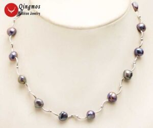 Floating-8mm-Natural-Black-Pearl-Necklace-for-Women-amp-Elbow-Chokers-17-039-039-Jewelry