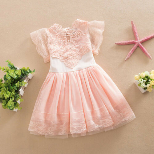 Kids Baby Girl Princess Tutu Dress Lace Party Pageant Bridesmaid Tulle Dress UK