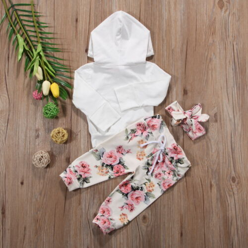 Infant Baby Girls Floral Outfit Clothes Tracksuit Hooded Tops+Leggings Pants Set
